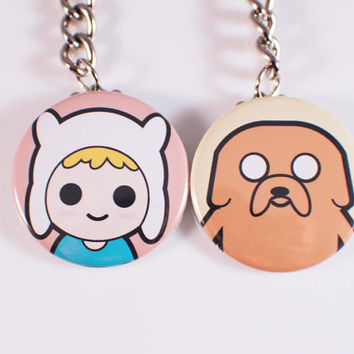 Finn and Jake Button Keychains