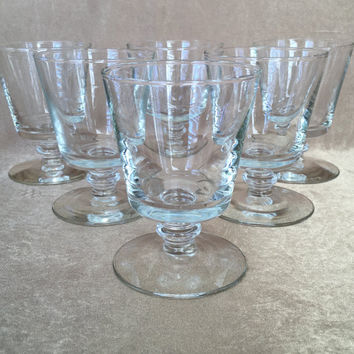 Whiskey Glasses, Vintage Barware, Pedestal Clear, Short Rocks Glasses, 60s Bar Glass, Retro Cocktail Glass, Knob Stem Glass, Mid Century Bar