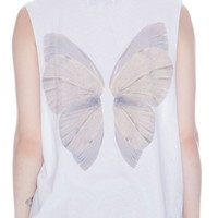 Wildfox Couture Fairy Wings Muscle Tank Clean White