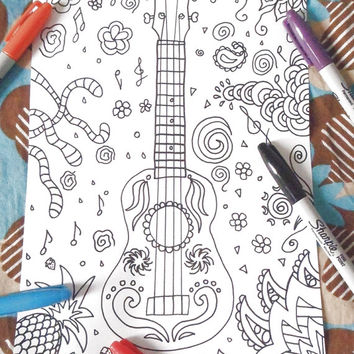 ukulele coloring book guitar braguinha machete cavaquinho anti stress music hawaii home decor diy printable print digital lasoffittadiste
