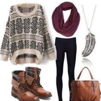 Oversized Sweater outfit with leggings and combat boots