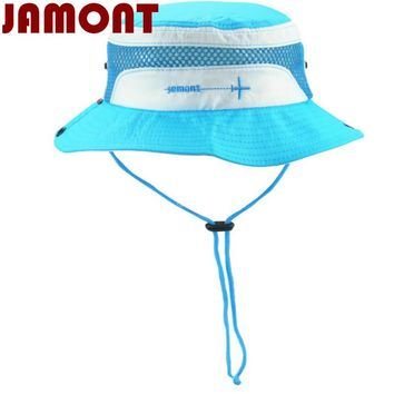 [JAMONT] Polyester kids bucket hat with string kids boy girl wide brim sun hat beach panama outdoor summer fishing cap