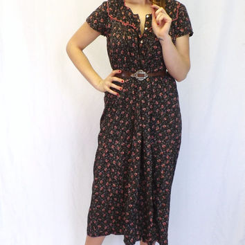 Vintage 1960s 70s Fall Floral Maxi Dress Rustic Country Peasant Dress Boho Summer Sundress Romantic Indie Chick Hipster Blue Folk Large