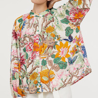 Patterned Blouse - Light beige/floral - Ladies | H&M US