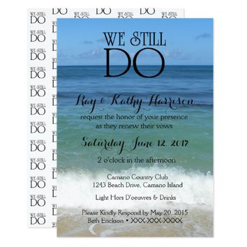 We Still Do Beach Wedding Vow Renewal Invite