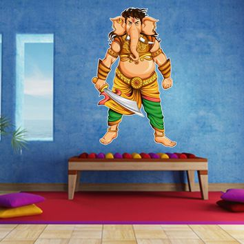 cik786 Full Color Wall decal elephant god Ganesh Hindu meditation hall bedroom hall