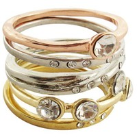 5Pc Tri-Color Crystals Stack Rings