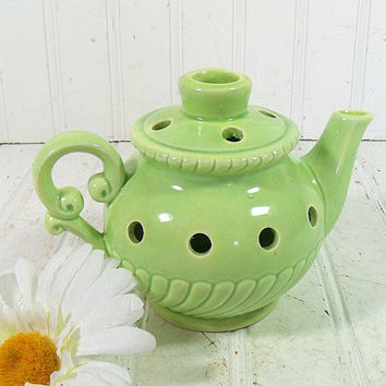 Early Homer Laughlin Style Summer Green Ceramic Floral Frog - Vintage Pottery Lime Green TeaPot Vase - Perfect Condition Porcelain Pitcher