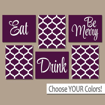 EAT DRINK be Merry CANVAS or Prints Kitchen Wall Art, Quatrefoil Artwork, Choose Your Colors, House Warming Gift Set of 6 Home Decor