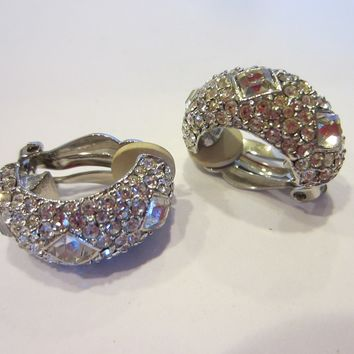 Joan Rivers Clip On Earrings Swarovsky Crystals Marked