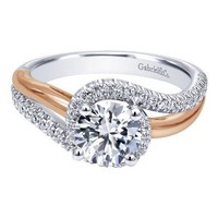 14k Two-Tone Gold 1.30cttw Bypass Style Rose and White Gold Round Diamond Engagement Ring