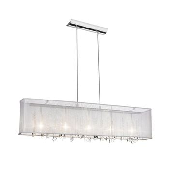 Dianolite Decorative 5 Light Horizontal Crystal Chandelier, Polished Chrome, White Organza Rectangular Shade