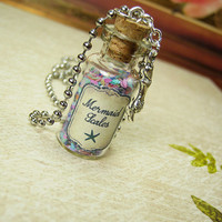Mermaid Scales 2ml Glass Vial Bottle Necklace Pendant Charm - Sea Ocean Mermaids
