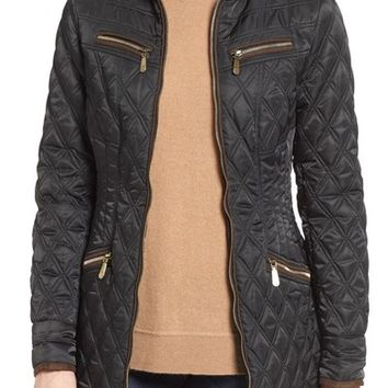 Vince Camuto Faux Suede Trim Quilted Jacket   Nordstrom