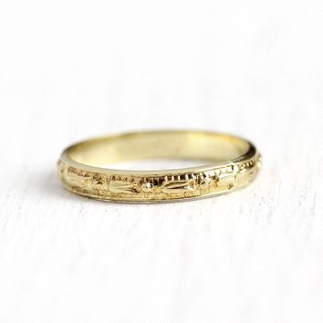 Vintage Baby Band - Size 1/2 Art Deco 1920s 10k Yellow Gold Orange Blossom Eternity Ring - Antique Child's Midi Fine Charm Jewelry