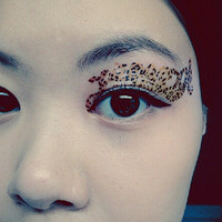 1 Pair of Temporary Tattoo Transfer Stickers for Eyes Eyelids Leopard 02 Eye Laced for Prom Festival Clubbing Party