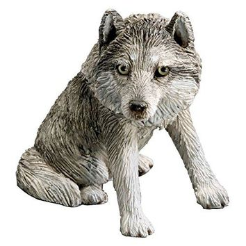 Sandicast Forever Friends Gray Wolf and Pup Sculpture, Sitting