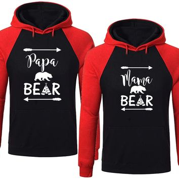 Matching Bear Family Hoodie for Mama Bear & PAPA Bear Pullover Sweater -Black RED-Price for 1
