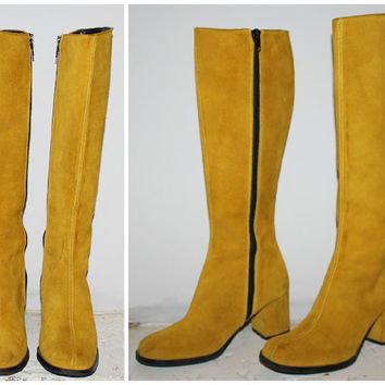 Vintage 60s GO GO BOOTS, Size 6 / 36 / Mustard Yellow Mod Boots / Knee High / Hippie Boho Mad Men