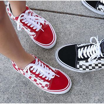 VANS Popular Women Men Casual Red Plaid Flat Sport Shoes Sneakers