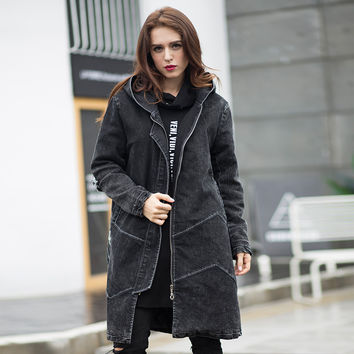 2016Winter women long Denim coat hooded Quilted outfit female casual jeans Cotton-padded overcoat top plus size outerwear XXXXXL