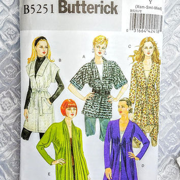 Butterick Cardigan Tunic Sewing Pattern B5251,Misses Cardigan and Belt with Kimono Sleeves Size Y XSM SML MED, cut, sweater jacket pattern