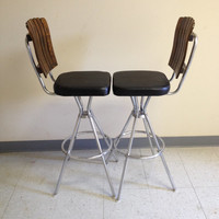 Pair of Vintage Mid Century Modern Wood Slat Chrome Vinyl Swivel Bar Stools