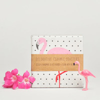 Pink Flamingo Ceramic Coasters on Polka Dots Summer Tropical, set of 4