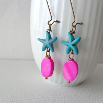 Nautical starfish turquoise pink earrings