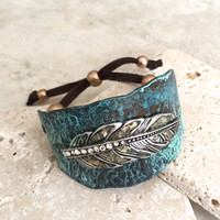 Feather - Metal and Leather Cuff Bracelet - Patina