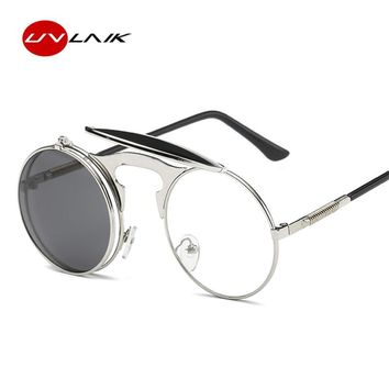 UVLAIK Steampunk Gothic Sunglasses Men Women Round Designer Steam Punk Mirror Metal Frames Sun Glasses Retro UV400 Eyewear
