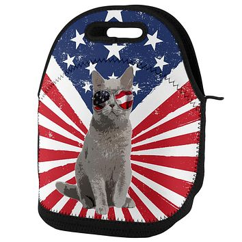 4th Of July Meowica America Patriot Cat Lunch Tote Bag
