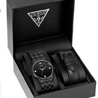 GUESS Men's U13009G1 Classic Black Diamond Accented Interchangeable Strap Watch