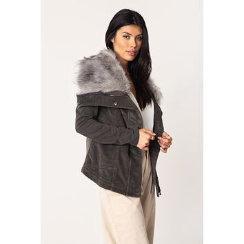 Kym Cord Fur Wrap Jacket