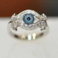 My Associates Store - Silver & Cubic Zirconia Evil Eye Ring