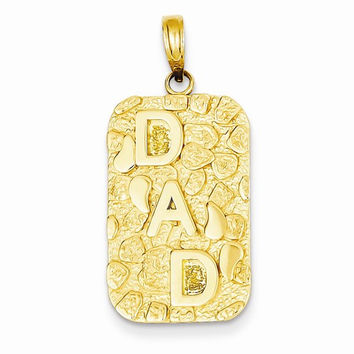 14k Yellow Gold Nugget dad dog tag Charm Pendant