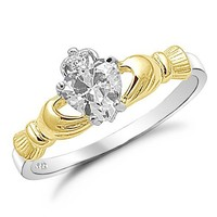 Kriskate & Co. Two Tone Irish Claddagh Ring .925 Sterling Silver with Clear Simulated Stone Heart Promise Ring Sizes 4 to 10
