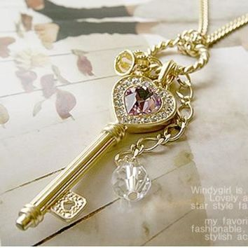 Trendy Crystal Zircon Long Gold Crown Key Necklace For women  Section Of Love Sweater Pendant Necklace cute girls necklace gift