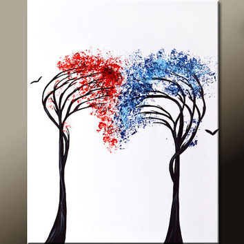 AbstractCanvas Art Painting 18x24 Original Contemporary Modern Landscape Tree Paintings  by Destiny Womack - dWo - Reaching for You