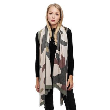 Camouflage Cashmere Blend Large Scarf