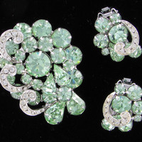Marked Down  25% OFF Mega Glitz Weiss Chrysolite (Light Green) and Clear Rhinestone Brooch and Earring Set