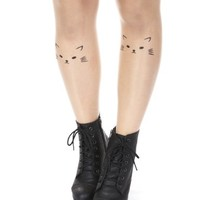 Danischoice Black Cat Print Light Apricot Color Sheer Tatoo Pantyhose