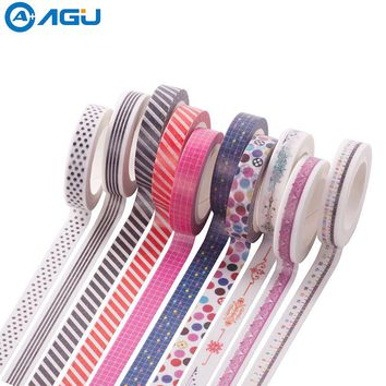 AAGU 1PC 8mm*7m Label Stationery Red Black Dot Stripe Washi Tape Decorative Masking Tape Lovely High Viscosity Paper Sticker