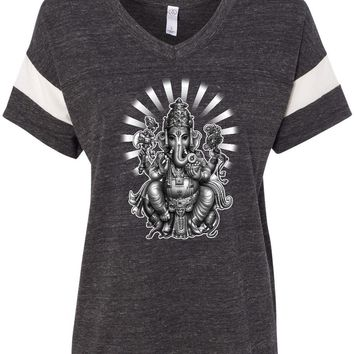 Womens Yoga T-shirt Ganesha Eco-Friendly V-neck