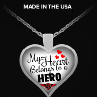 My Heart Belongs To A Firefighter Hero Necklace ffheronecklace