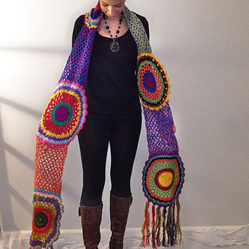 $94.52 Multicolor Crocheted Circle Scarf by subrosa123 on Etsy