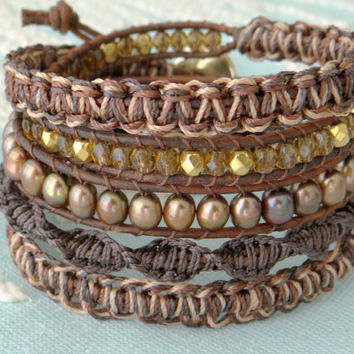 Beaded Leather Wrap Bracelet With Freshwater Pearls and Gold Button Clasp - Shades of Brown
