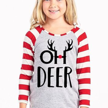 Unisex Oh Deer Striped Top, Red