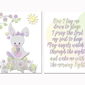 Baby girl room wall art rabbit nursery decor Now I lay me down to sleep print toddler gift shower decoration poster bedtime prayer lavender
