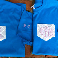 Monogram Sorority Pocket Tee with embroidery on the sleeve.  Great for Big/Little, initials or just greek letters.